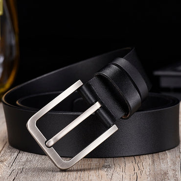 Casual Genuine Leather Strap Pin Buckle Metal Men Belts