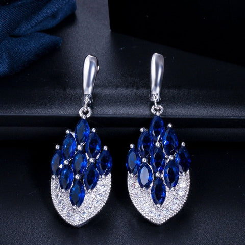 Vintage Anchor Shape Long CZ Crystal Dangle Drop Earrings