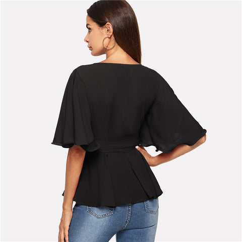 Black V-Neck Waist Belted Bell Sleeve Women Top