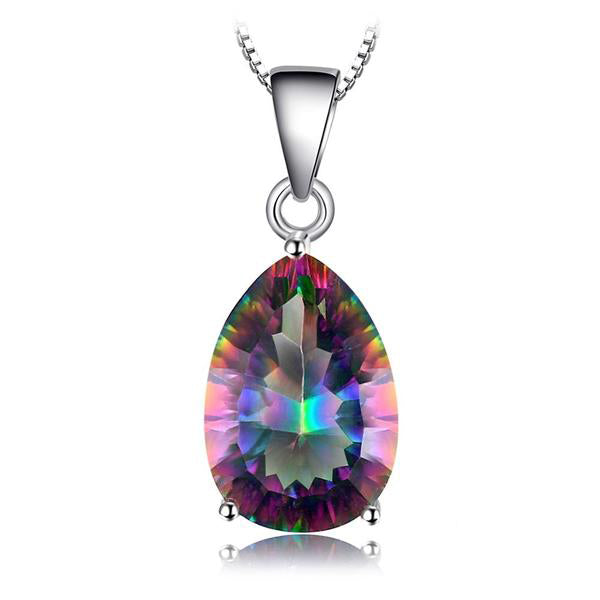 Multi Color Rainbow Fire Mystic Topaz Sterling Silver Pendant Necklace