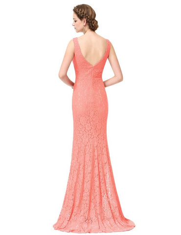 Elegant Mermaid Style Long V Neck Prom Party Gala Gown Dress