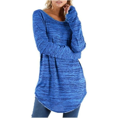 Long Sleeve Round Neck Casual Long Baggy Plus Size Top