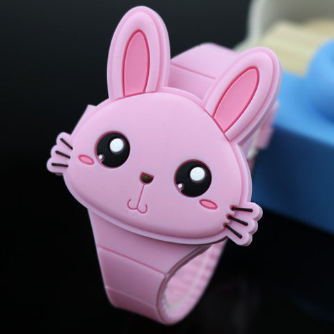 Lovely Rabbit Cartoon Flip Cover Electronic Kids Watch