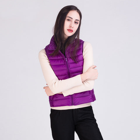 Vest Stand Collar Warm Slim Zipper Women's Jacket