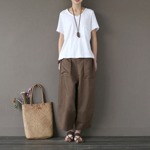 Wide Leg Loose Big Pockets Cotton Linen Ankle-length Casual Pants