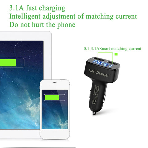 Dual USB Digital LED Mobile Phone Car Charger
