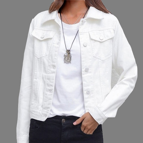 Winter Casual Candy Color Women's Short Denim Jacket