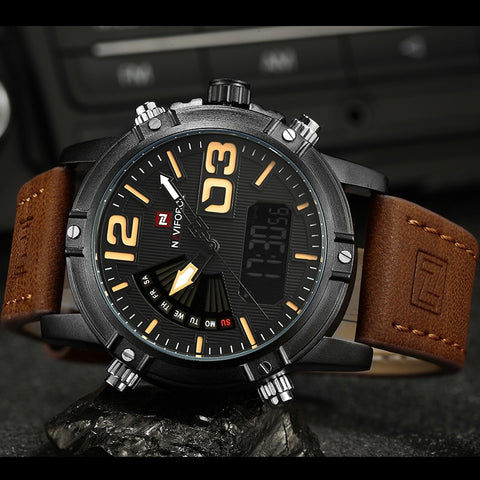 Leather Strap Waterproof Analog Quartz Military Sports Watch