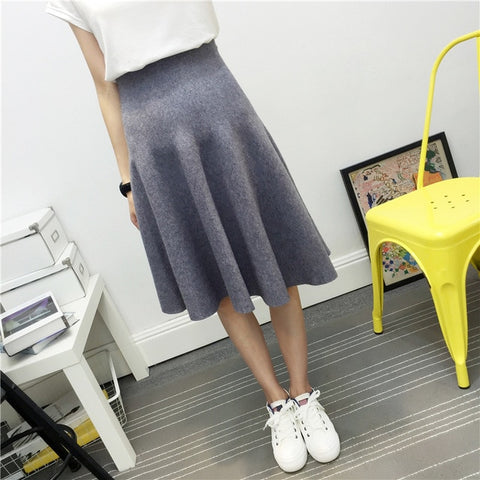 Winter High Elastic Waist A-Line Pleated Women Knitted Midi Skirts