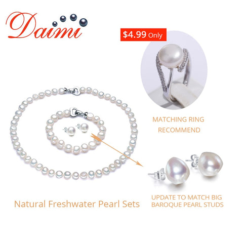 White 8-9mm Pearl Women Jewelry Sets Necklace+Bracelet+Earrings