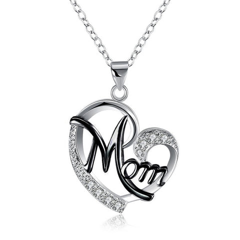 Mom Heart Shape Inlaid Crystal Fashion Pendant Necklace