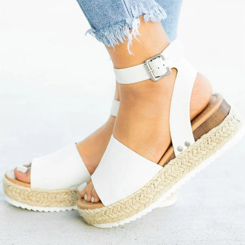 Summer PU Open Toe Buckle Strap Closure Women Basic Sandals Wedges