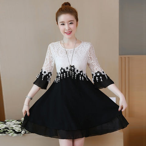 Plus Size A-Line Patchwork Quarter Sleeve Lace Dress