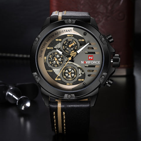 Luxury Waterproof Leather Strap Quartz Movement Men's Wristwatch