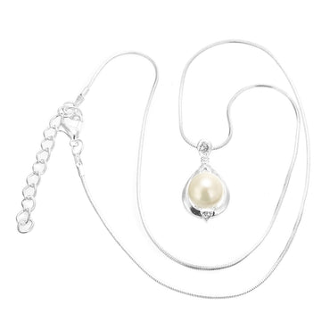 Crystal Long Chain Simulated Water Drop Pearl Pendant Necklace