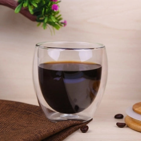 Heat-resistant Double Wall Transparent 450ml Drinkware Glass Cups