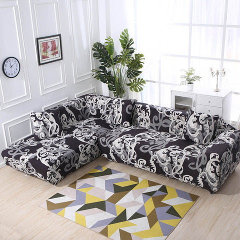 Floral L-shape Corner Sectional Elastic Cotton Three-seat Sofa Cover For Living Room