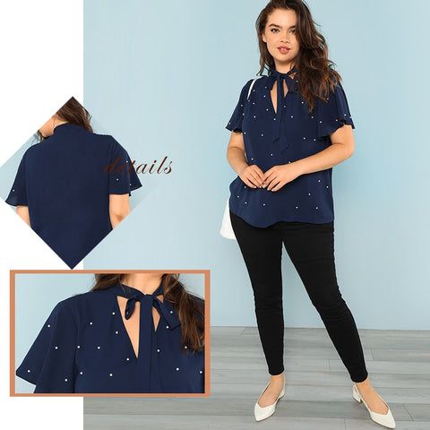 Plus Size Tie Neck Pearl Beading Short Sleeve V Neck Navy Blue Tops