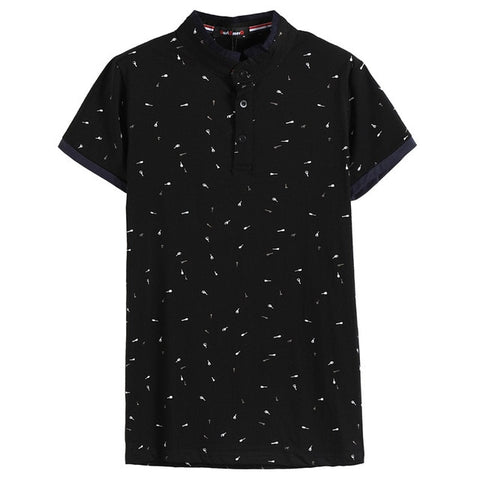 Guitar Printed Stand Collar Short Sleeve Casual Slim Fit Polo  T-Shirt