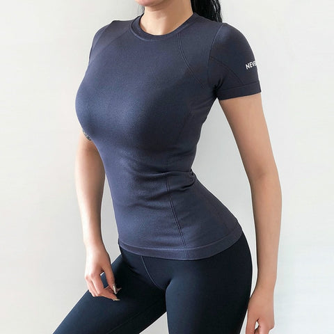 Quick Dry Short Sleeve Slim Fit Solid Sport Fitness T-Shirt