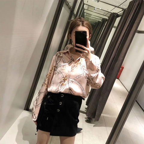 Spring Chain Floral Print Asymmetric Casual Long Shirts