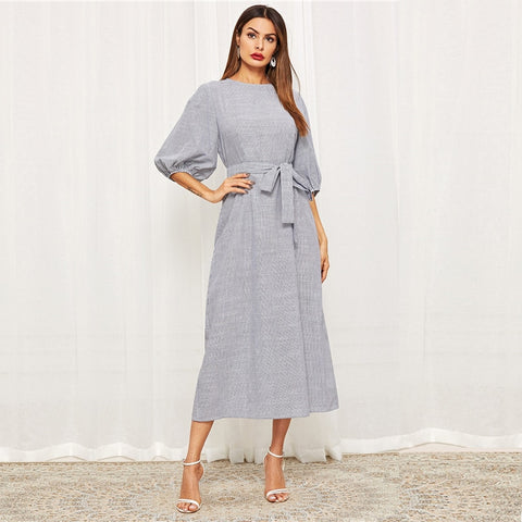 Elegant Stripe Print Straight Spring Lantern Sleeve Casual Maxi Dress