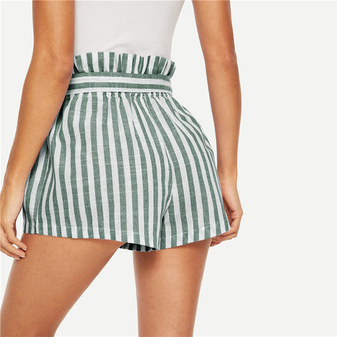 Pleated Paper Bag  Waist Buttoned Belt Knot Striped Casual  Shorts