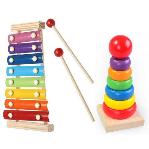 Wooden Frame Style Xylophone Rainbow Musical Toy for Kids