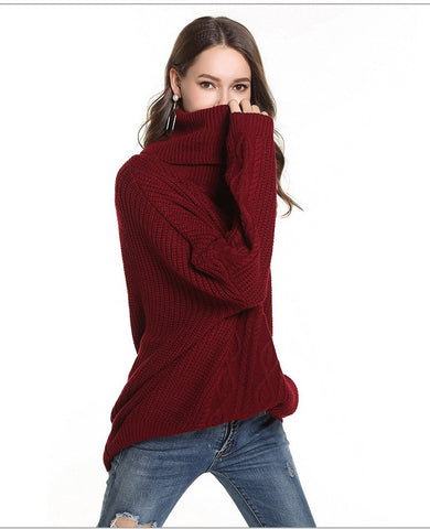 Casual Turtleneck Loose Knitted Warm Sweater