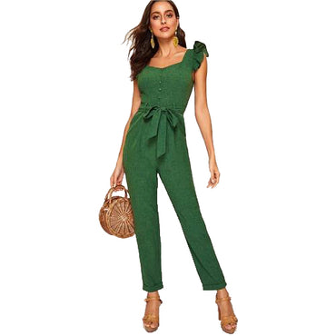 Vintage Mid Waist Belted Ruffle Trim Sleeveless Women's Jumpsuit