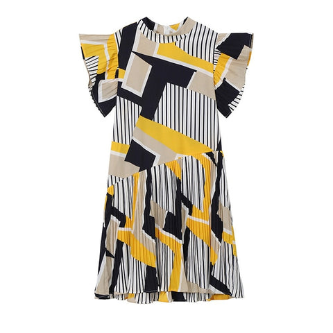 Korean Style Yellow Striped Cute Midi Casual Dress