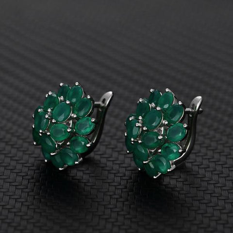 Natural Green Agate Sterling Silver Elegant Design Stud Earrings
