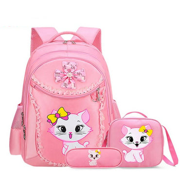 Black & Pink Cat Printed Zipper School Backpack