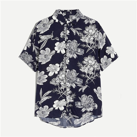 Floral Print Short Sleeve Asymmetrical Hem Casual Shirt