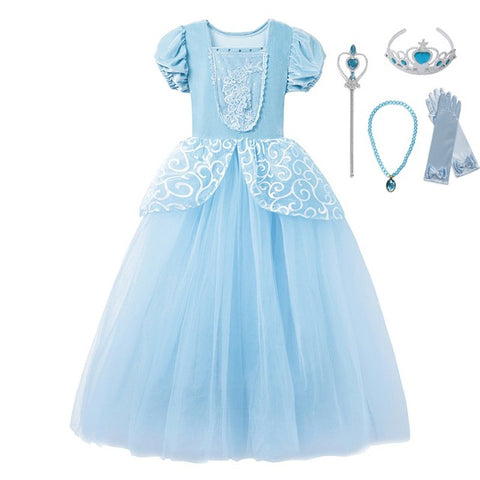 Disney Princess Costume Puff Sleeve Party Dress for Girls