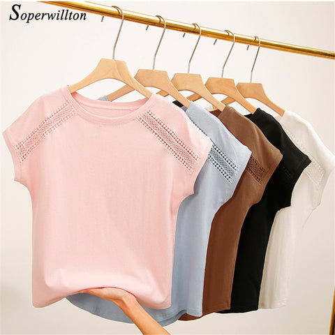 Casual Hollow Out Lace Sleeve Kawaii T Shirt Tops