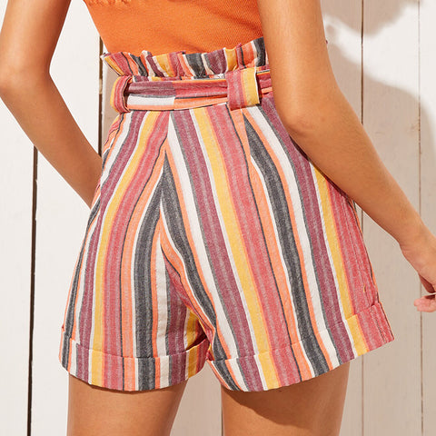 New Multi Color Striped Self Tie Belted High Waist Ruffle Bohemian Shorts for Women
