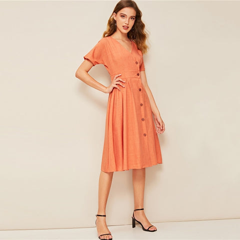 Elegant V-Neck Pleated Wrap Short Sleeve A-Line Casual Dress