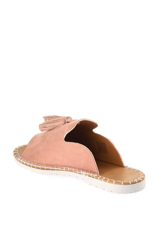 PU Leather Powder Suede Textured Lines Slippers