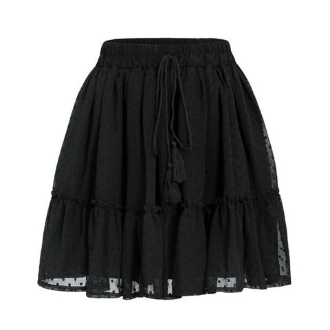 Casual Polka Dot High Elastic Waist Women Tassel Ruffle Mini Skirts