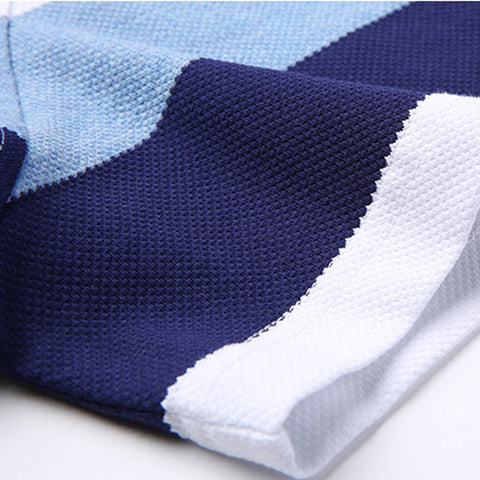 New Casual Slim Fit Striped Turn Down Collar Short Sleeve T-Shirt for Men