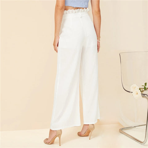 White Embroidered Frill High Waist Loose Wide Leg Pants