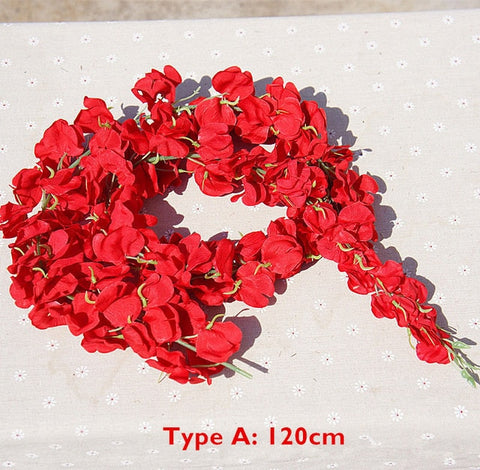 120cm Long Artificial Wisteria Flower Vine Silk Hydrangea For Decoration