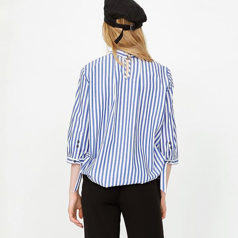 Summer Spring Low High Pleated Striped Quarter Sleeve Shirt