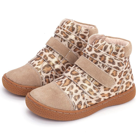 Casual Square Toe Genuine Leather Leopard Pattern Ankle Boots