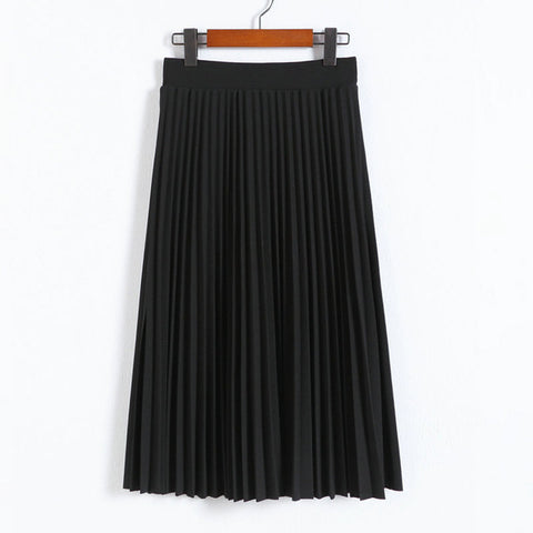 Women's High Elastic Waist Pleated Women Half Length Pleated Skirts