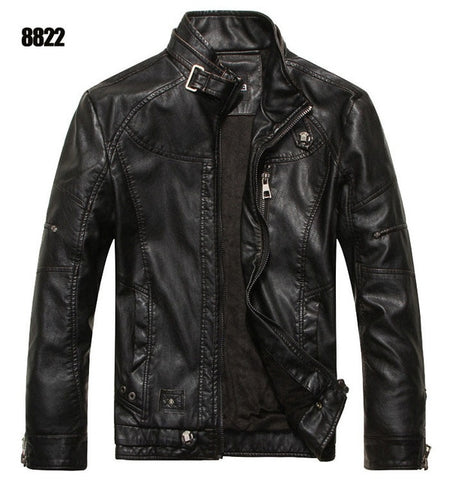 Casual Mandarin Collar Leather Motorcycle Jackets