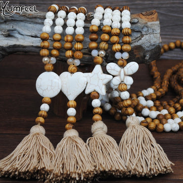 Natural Stone Butterfly Star Heart Wood Bead Long Necklace Pendants For Women