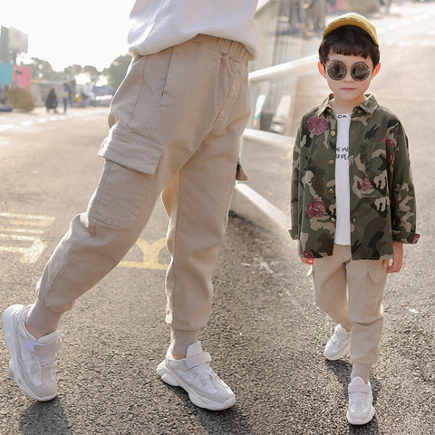 Spring Summer Solid Color Boys Cargo Pants