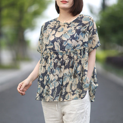 Casual Short Sleeve Vintage Floral Print  High Waist Loose O-Neck Top